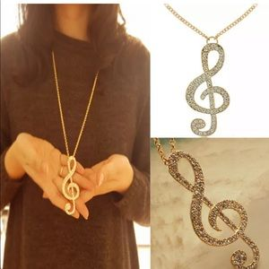 Jewelry - New Gold crystal music note rhythm necklace
